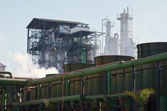 ethanol and sugar factory, são paulo state, brazil - stock photo