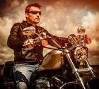 Stock Photo of biker on a motorcycle
