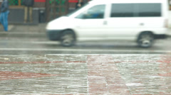 Rainy day on a city street Stock Footage