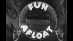 FUN AFLOAT Sea Ocean Travel Vintage Old Film Title Graphic Leader 8mm 7040 Stock Footage