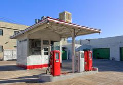 vintage gasoline station - stock photo