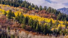 Rock mountains and fall colors zoom in Stock Footage