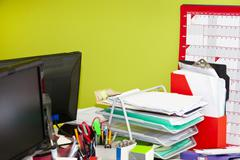 Stock Photo of Close-up of real life messy office
