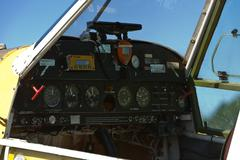 Crop duster - instrument panel and cockpit Stock Photos
