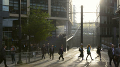 Morning rush hour Piccadilly Manchester Stock Footage