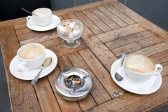 Stock Photo of Close up of Coffee Cups on table in London, UK