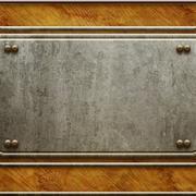 Metal signboard on old wooden background Stock Illustration