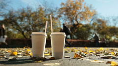 Couple in autumn city park Stock Footage