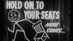 HOLD ON TO YOUR SEATS! Vintage Old Film Title Graphic Leader Animation 8mm 7043 - stock footage