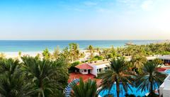 panorama of the beach at luxury hotel, ajman, uae - stock photo