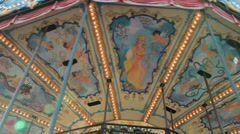 Amusement Park with carousel Stock Footage