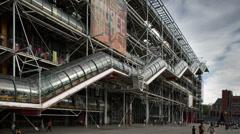 Pompidou museum, paris france 4k Stock Footage