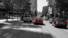 Seattle City Driving Day B & W - stock footage
