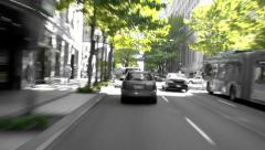 Seattle City Driving Day B & W Stock Footage