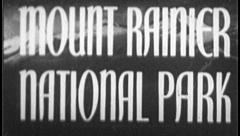 MOUNT RAINER National Park Travel Vintage Old Film Title Graphic Leader 8mm 7045 Stock Footage