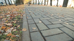 City alley in autumn Stock Footage