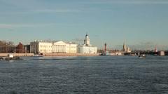 Vasilyevsky Island, St. Petersburg, Russia Stock Footage