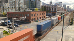 Seattle City Traffic Time Lapse Train Stock Footage
