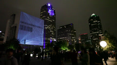 Dallas Skyline w/video Projected on building- TIME-LAPSE at Aurora Festival Stock Footage