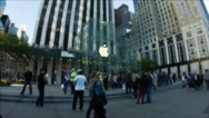 Stock Video Footage of NYC Apple Store 5th ave Time Lapse