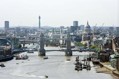 Stock Photo of Elevated view of Tower Bridge and St Pauls, London