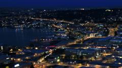 Seattle City Traffic Time Lapse Night Pan Tilt Shift - stock footage