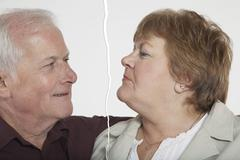 Senior couple ripped apart due to relationship difficulties - stock photo