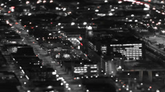 Seattle City Traffic Time Lapse Night Pan Tilt Shift Stock Footage