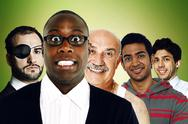 Stock Photo of Portrait of multi-ethnic friends standing in front of green background