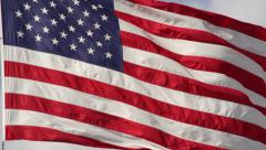 American flag waving closeup slow motion 240fps Stock Footage