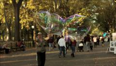 NYC Central Park Bubble Street Performer Stock Footage