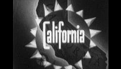 CALIFORNIA Vintage Old Film Tourism Travel Title Graphic Leader 1930s 7052 Stock Footage