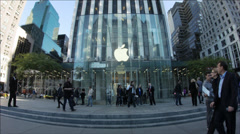Apple Store 5th ave NYC Flag Ship - stock footage