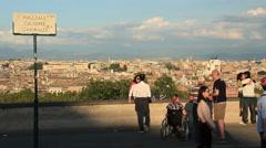 Visitors admire Garibaldi view in Rome - stock footage