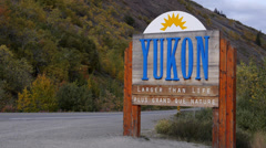 Yukon Sign with Car - stock footage