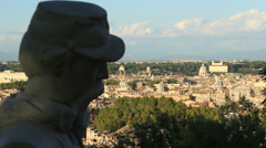 Rack focus Janiculum statue, with view of Rome 2 Stock Footage