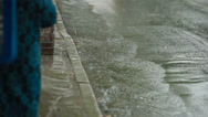 Stock Video Footage of People in heavy rain on the sidewalk