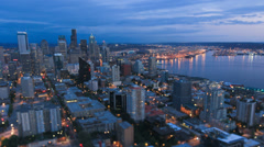 Seattle Cityscape Time Lapse Dusk Tilt Shift Stock Footage
