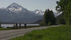 Bicyclists on the Haines Highway - Summertime Stock Footage