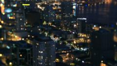 Seattle Cityscape Time Lapse Night Pan Tilt Shift - stock footage
