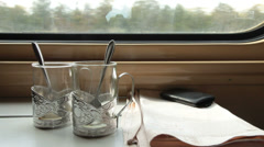 Traveling by ukrainian train Stock Footage