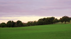Field and barn left to right pan WS - stock footage
