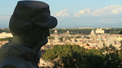 Rack focus Janiculum statue, with view of Rome 1 Stock Footage
