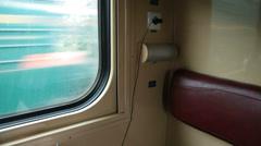 Interior of coupe in ukrainian passenger train car Stock Footage