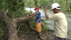 Hurricane Aftermath Cleaning Up Debris Stock Footage