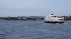 Coho Ferry Departs from Victoria Harbor Stock Footage