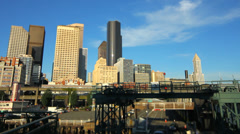 Seattle Ferry Boarding Cityscape Tilt Shift Stock Footage
