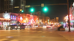 Stock Video Footage of Nashville Broadway st time lapse night