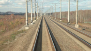 Stock Video Footage of Railroad track at high speed POV