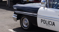 50s old chevrolet police car 2 Stock Footage
